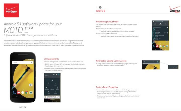 Motorola E Lollipop Update
